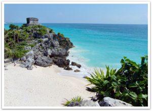 Maya Stätte Tulum an der Karibik Küste von Mexico